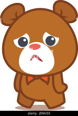 Triste carattere orso illustrazione vettoriale Foto Stock