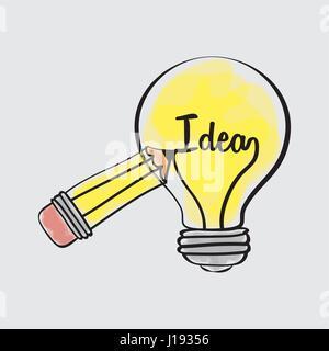 Idea Design. Disegna icona. Sfondo bianco , vettore Foto Stock