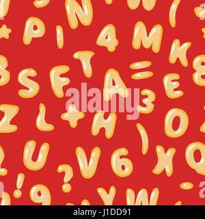 Minestrone lettere latine sul rosso modello senza giunture Foto Stock