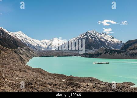 Tasman Glacier e turchese lago glaciale, Mount Tasman, parco nazionale di Mount Cook, Alpi del Sud, regione di Canterbury, Foto Stock