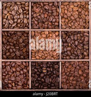 Piazza di legno scatola di archiviazione con nove scomparti, riempita con una selezione di caffè in grani di diverse varietà e arrosti.