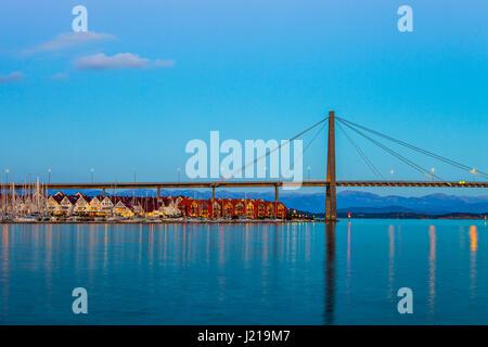 Stavanger panorama del ponte in background, Norvegia. Foto Stock