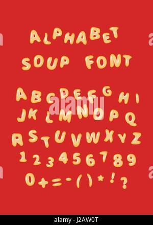 Minestrone font lettere su rosso Foto Stock