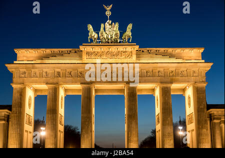 La Porta di Brandeburgo a Berlino, Germania, Foto Stock