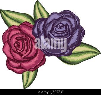 Fiore realistico rosa rossa e viola e rosa con foglie Foto Stock
