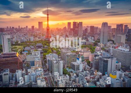 Tokyo. Cityscape immagine di Tokyo, Giappone durante il tramonto. Foto Stock
