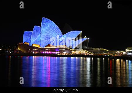 Australia Sydney Opera House immagine notturna Foto Stock