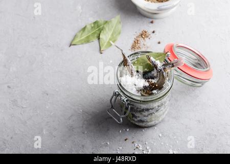 Preparare il capelin salata. Pesce preservato per mangiare Foto Stock