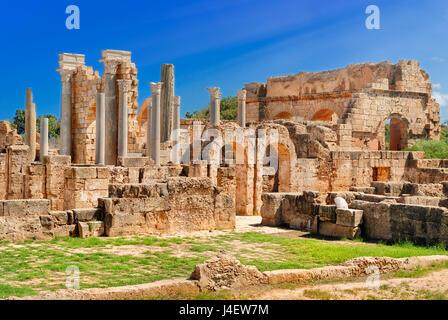 Libia Tripoli Leptis Magna sito archeologico romano del patrimonio mondiale Unesco Foto Stock
