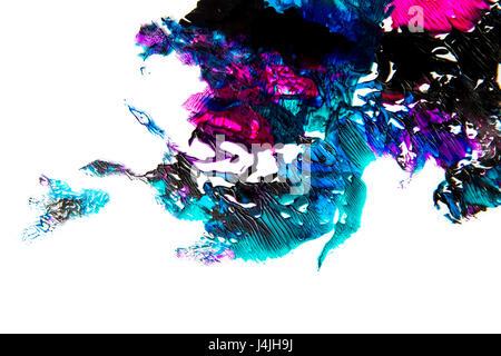 Abstract la formazione di macchie di vernice isolati su sfondo bianco Foto Stock