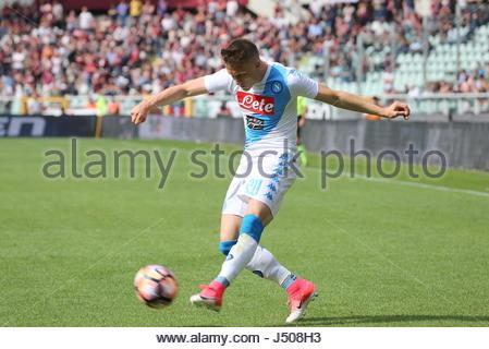 Torino, Italia. 14 Maggio, 2017. Piotr Zielinski (SSC Napoli) durante la serie di una partita di calcio tra Torino Foto Stock