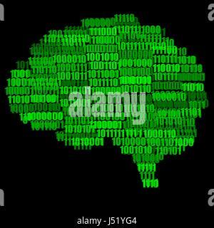 Verde su nero Digital Brain concetto illustrazione isolati su sfondo nero Foto Stock