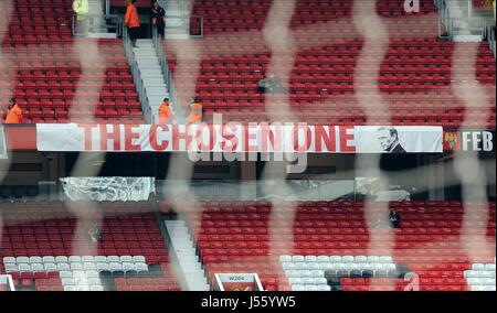 La scelta di un banner MANCHESTER UNITED FC V ASTON V OLD TRAFFORD Manchester Inghilterra 29 Marzo 2014
