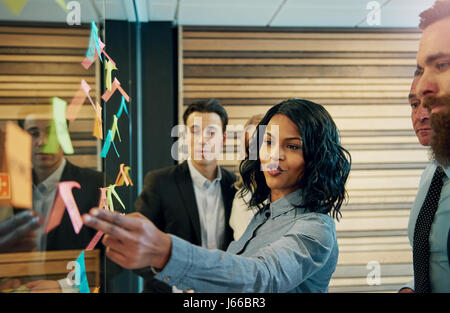 Nero donna di affari di fronte misto business team. Avendo un incontro permanente di proporre idee utilizzando poster Foto Stock