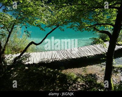 Ponte in legno sul acqua chiara Foto Stock