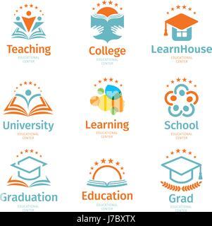 Isolato colorato astratto istruzione e imparare insieme il logo, università e i libri di scuola, laureato cappelli Foto Stock