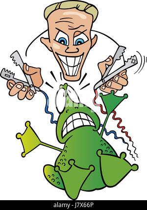 Esperimento illustrazione di ricerca Laboratorio di rana scienziato cartoon fumetto Foto Stock