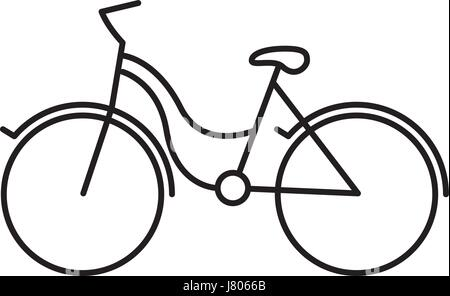 Silhouette nera con tourist bike icona Foto Stock