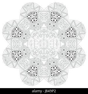 Dipinte a mano e art design adulto anti stress pagina di - Disegni in bianco per la colorazione ...