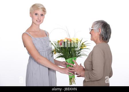 Bella, beauteously, Nizza, adulto, bouquet, adulti, anziani, incollaggio, sfondo, Foto Stock