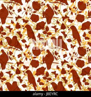 Golden vector pattern con sagome di uccelli, farfalle e Foto Stock