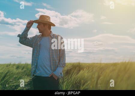 L'agricoltore maschio a piedi attraverso un verde campo di grano su windy giornata di primavera e di esaminare le Foto Stock