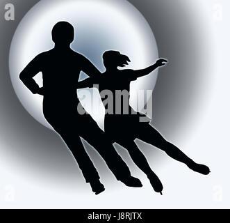 Sport, Sport, colore, neon, silhouette, contorno, pattinaggio, colore sfondo, Foto Stock