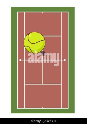 Campo da tennis e la sfera. Gioco di tennis. Gioco palla alta al di sopra del potenziale di terra Foto Stock