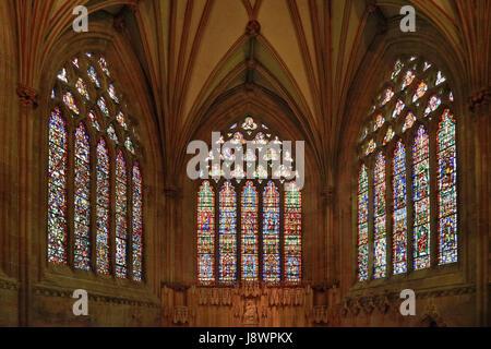 Inghilterra, Somerset, Cattedrale di Wells, vetrate nella cappella della Madonna. Foto Stock