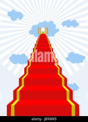 Scala verso il paradiso. Tappeto rosso nel cielo. Porte del Paradiso. Porte in nubi. Illustrazione Vettoriale della Foto Stock
