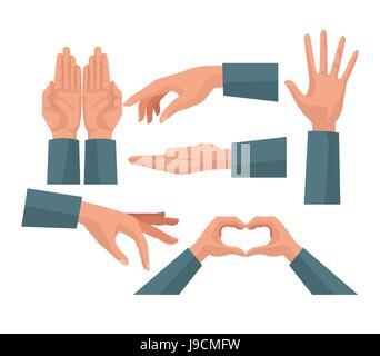 Insieme colorful mani carità condividere i simboli di amore Foto Stock