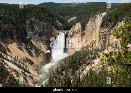 Le cascate Inferiori sul fiume Yellowstone nel Grand Canyon di Yellowstone National Park in Wyoming, Stati Uniti. Foto Stock