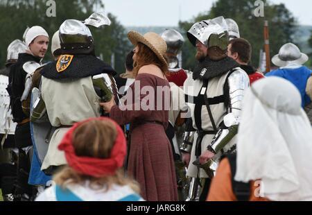 Battaglia di Grunwald. Scontro di cavalieri teutonici, polacchi e lituani knights - La signora medievale vince il valoroso cavaliere.