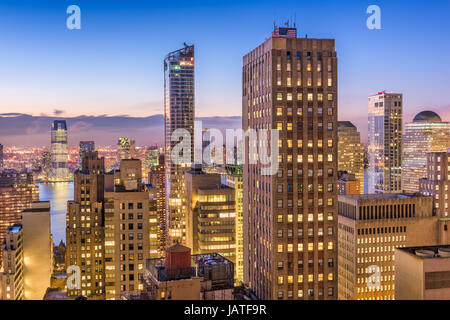 New York City Financial District cityscape. Foto Stock