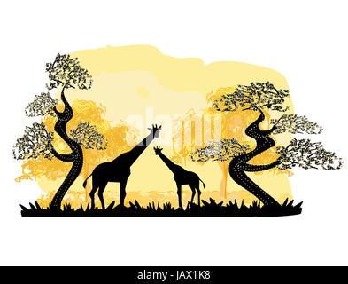 Due giraffe silhouette, con la giungla paesaggio Foto Stock