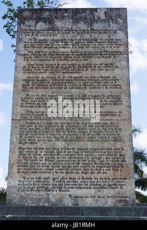 """Lettera inviata a Fidel Castro da Ernesto """"CHE"""" GuevaraSanta Clara, Cuba Foto Stock"""