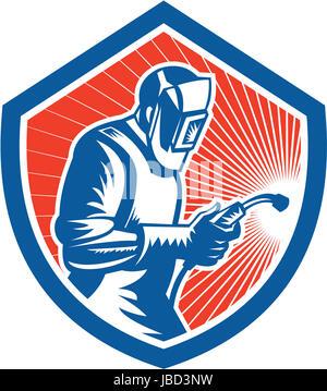 Illustrazione della saldatrice il lavoratore a lavorare utilizzando la torcia di saldatura osservata dal lato impostato Foto Stock