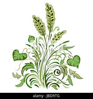 Swirl floreale colorato motivo decorativo con foglie, erba e spikelets Foto Stock