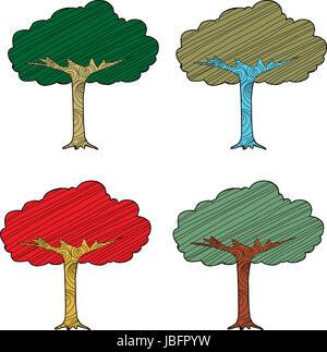 Set di quattro stagionali alberi astratti su sfondo bianco Foto Stock