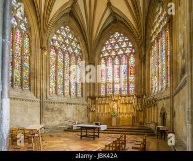 8 Giugno 2017: Wells, Somerset, Inghilterra - Cappella della Madonna all'estremità est della Cattedrale di Wells, Foto Stock