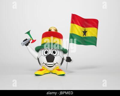 Un simpatico e divertente personaggio di calcio tenendo la bandiera nazionale del Ghana e da un avvisatore acustico Foto Stock