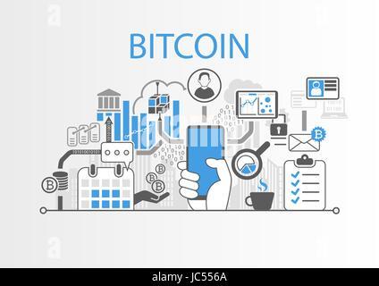 Bitcoin vettore illustrazione dello sfondo con la mano che regge lo smartphone e icone Foto Stock