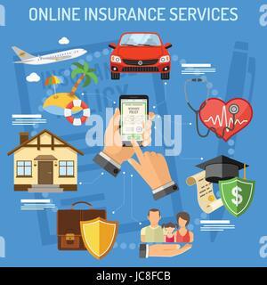 Concetti di assicurazione online services. Uomo con smart phone in mano e acquisto di polizza assicurativa. flat Foto Stock