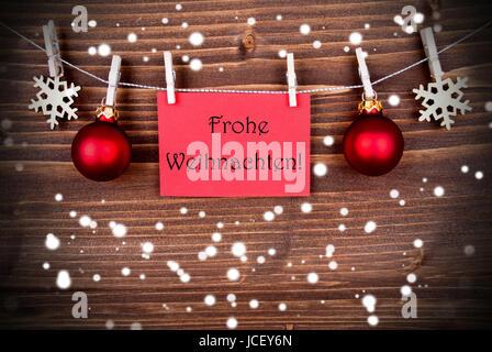 Buon Natale Que Significa.Banner Rosso Con Le Parole Tedesche Frohe Weihnachten Che Significa