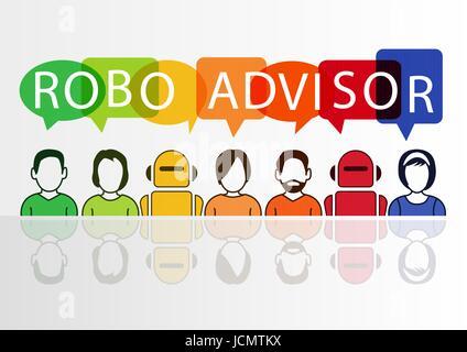 Robo-advisor concetto come illustrazione vettoriale con icone colorate di robot e persone Foto Stock