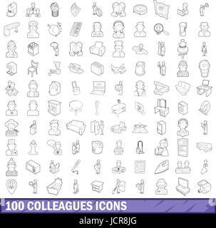 100 colleghi set di icone di stile di contorno Foto Stock
