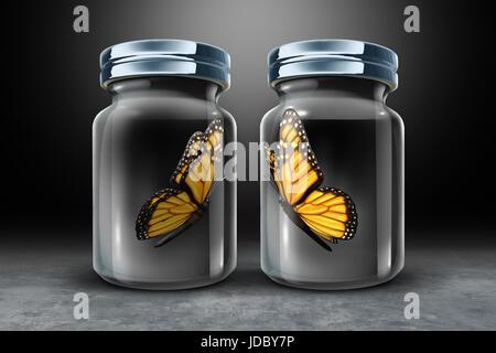 Le barriere alla comunicazione e di una barriera fisica concetto come due farfalle in separata di vetro chiusa come Foto Stock