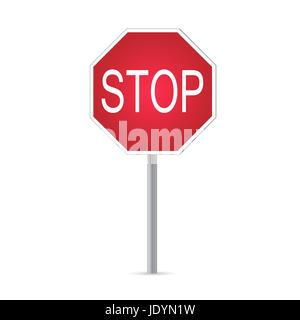 Illustrazione di un segnale di stop isolato su uno sfondo bianco. Foto Stock