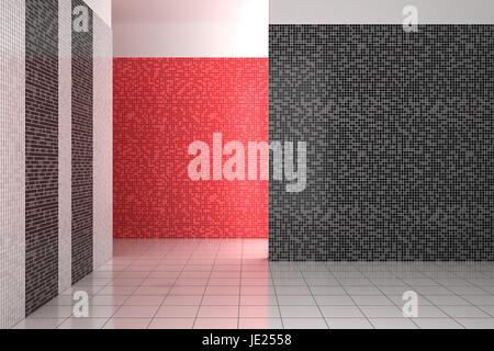 Bagno Con Mosaico Nero : Moderno rosso e nero bagno con piastrelle a mosaico a parete e