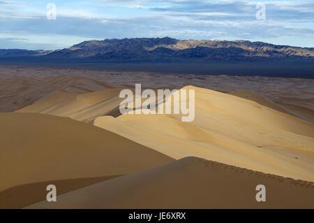 Mongolia, Asia Centrale, Gobi Gurvansaikhan national park, sud della provincia Gobi, deserto dune di Khongoryn del Foto Stock